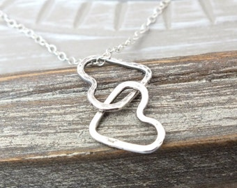 Entwined Heart Valentine Necklace, Sterling Silver Linked Heart Necklace