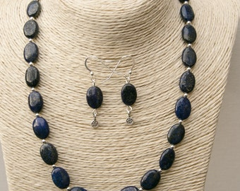 """Beautiful Blue Lapis necklace with matching earrings! Pretty oval beads with sterling silver spacer beads. 3"""" extender clasp."""