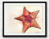 Starfish- Original Watercolor and Ink, Painting, Illustration, Art, Print, Wall Decor, Beach