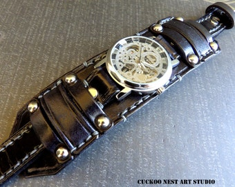 Black steampunk leather wrist watch, Mens wrist watch, Black leather cuff, Bracelet watch