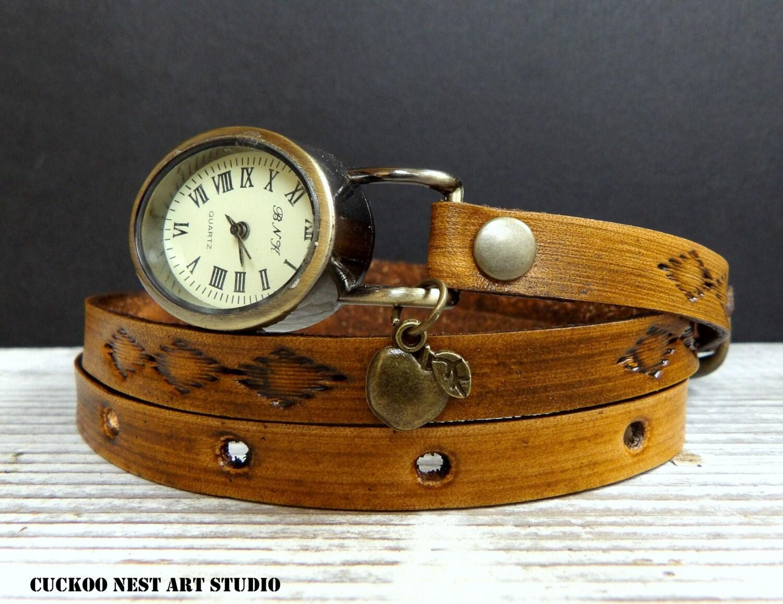 vintage looking wrap womens leather bracelet
