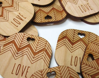 50 - 1.5 x 1.5 Wedding Tags - Custom Wedding Tags - Wood Wedding Tags