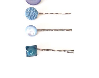 Blue Button Bobby Pins-Set of 4