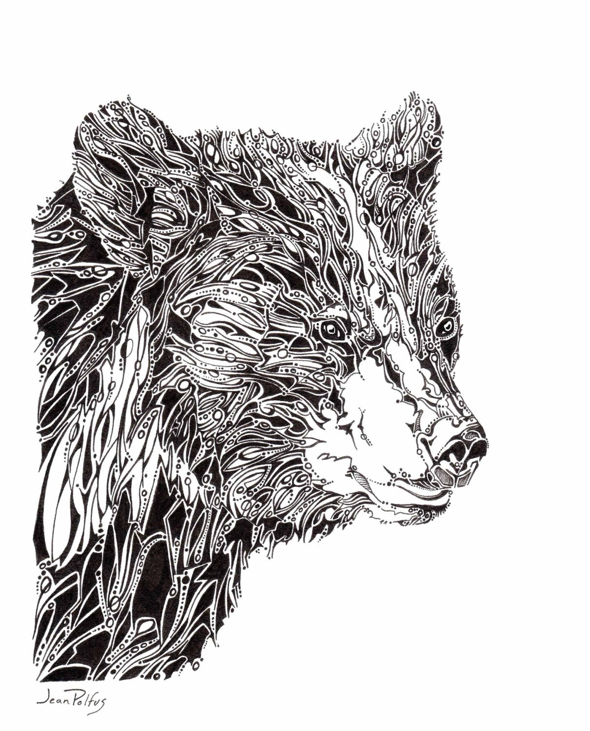 Line Art Illustration : Black bear potrait unique line drawing wildlife artwork