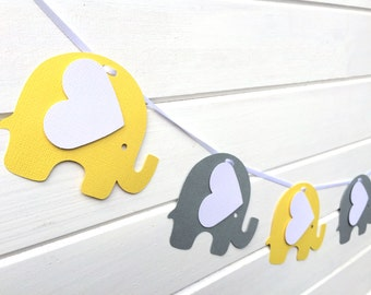 Elephant Garland Bright Yellow & Gray. Baby shower, decor, high chair, birthday party, bunting, banner, dessert table. First birthday party