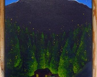 "Woodland Cabin Canvas, 7x5"", Original Canvas, Original Painting, Acrylic Canvas, Woodland Painting"