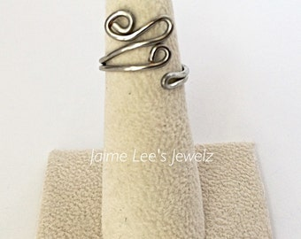 Unique Silver Ring, Women's Ring, Thin Silver Ring, Silver Swirl Ring, Silver Wire Ring, Funky Silver Ring