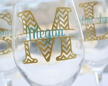 Chevron Personalized Wine Glass Wedding Party Gift