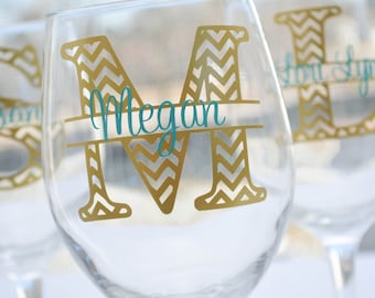 Chevron Personalized Wine Glass Wedding Party Gift