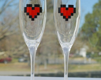 Player 1 Player 2 Champagne Glass Set - Wedding Toast - Gift