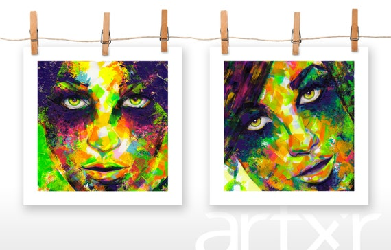 2 PACK of 10x10 Prints ... of Original Acrylic Paintings entitled 'Eye Shadows' and 'Smokey Eyes'