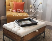 FREE SHIPPING - Vintage European Grain Sack – Button Tufted Ottoman CRATE Coffee Table with Storage