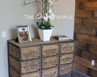 FREE SHIPPING - 9 Drawer ZORIA Crate Dresser | Vintage Wood Crates & 100+ yr old Barn Wood | Custom Furniture