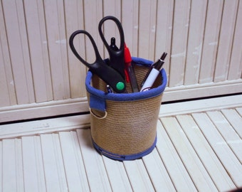 "Fire Hose Pencil Holder, 4"" Cobalt Blue Accessory, Firefighter Utility Holder, Pencil Cup, Firefighter Gift, Desk Organization, Desk Decor"