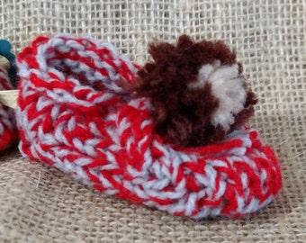 Hand Knitted Buckeye Baby Booties