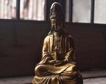 Vintage Guan Yin Bronze Statue / Kwan Yin Statue / Goddess of Mercy / Kuan Yin Statue / Goddess Statue / Buddhism