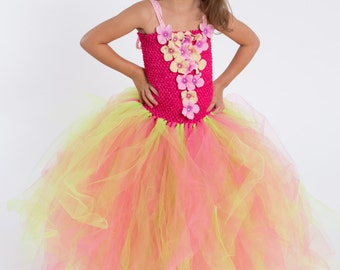 Flower girl dress - tutu dress - tulle dress - Pink and Lime Tutu Dress - Girls/Youth Dress - Pageant dress - Princess dress-Pink tutu dress