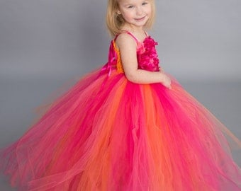 Flower girl dress - tutu dress - tulle dress -Infant/Toddler - Pageant dress - wedding - Princess dress - Coral Shades flower dress- Floral