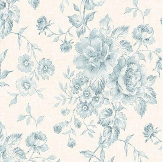Wallpaper Pale Blue Floral Vintage Inspired Toile on Off