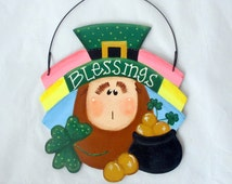 Irish Wall Hanging, spring plaque, Irish plaque, wood crafts, leprachaun plaque, tole painting, St Patrick's wall hanging, luck of the Irish