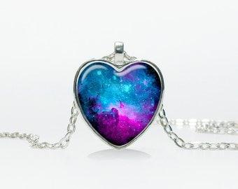 Galaxy stars pendant Galaxy stars Heart necklace Heart jewelry  Heart shape Christmas gift