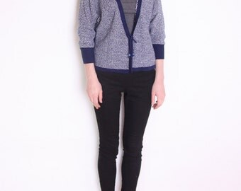 sweater, white and navy blue heather cardigan, Danish sweater