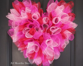 Valentines Day Spiral Deco Mesh Heart Wreath, I Love You Gifts Spring Easter, Home Party Prom Teacher Classroom Decorations, 18 Inch