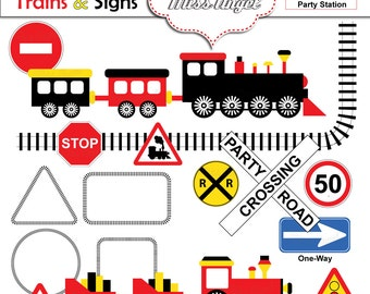 "Trains and Signs Clip art, Trains children party clipart. Kids Trains & Signs. Trains Theme. 6"" Train Illustrations, MissAngelClipart"