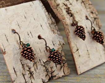 Pine Cone Earrings, Pine Cone Jewelry, Antique Copper or Antique Silver Pine Cones