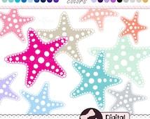 Starfish Clip Art, Summer, Ocean, Starfish Graphic Clipart Design, Digital Stars