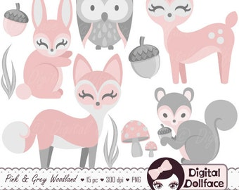 Baby Woodland Animal Clipart, Girl, Baby Clip Art, Pink Bunny, Deer & Fox