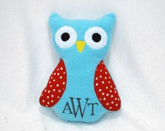 Crinkle Rattle Plush Owl with Monogram