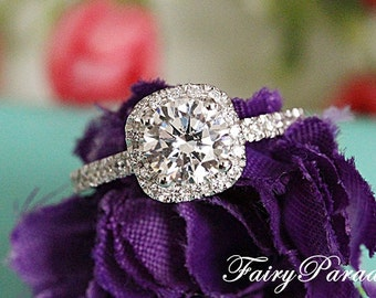 2 Carat Round Man Made Diamond in Cushion Shaped Halo Engagement Ring / Silver Promise ring for her / Wedding Ring / Fairy Paradise
