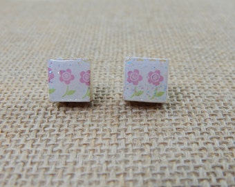 Petite Pink Flower Scrabble Tile Post Earrings - Gifts for Her - Gifts Under 5