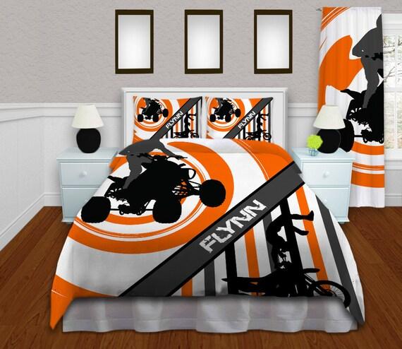 Orange Motocross Bedding sets, Dirt Bike bedding for boys, Duvet Cover ...