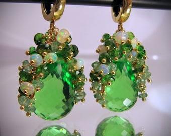Gemstone cluster earrings green, emerald ethiopian opal chrome diopside tsavorite garnet, MADE TO ORDER, Maria Cossutta. Gold vermeil.