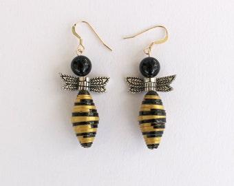 Bumblebee paper bead earrings