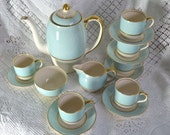 Art Deco Grays Pottery Demitasses Coffee Set - Duck Egg Blue Gold Bands and Raised White Spots - Susie Cooper Style - 1930s Clipper Mark