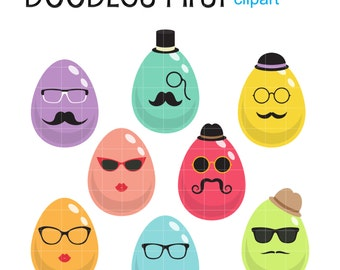 Hipster Easter Digital Clip Art for Scrapbooking Card Making Cupcake Toppers Paper Crafts