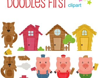 Three Little Pigs Clip Art for Scrapbooking Card Making Cupcake Toppers Paper Crafts