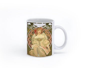 Mucha Print Art Mug-Art Nouveau Girl Mug
