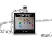 Custom Kid's Art, Artwork, Notes for Mom, Dad, Family & Friends - Glass Tile Pendant, Necklace, Jewelry Key Chain