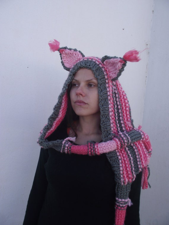 Knitting Pattern Hood With Ears : Cat ears Hoodie Scarf Cat Hoodie Scarf with Hood Cat Scoodie