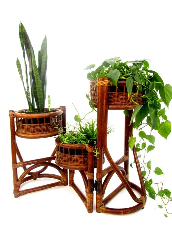 Vtg 3 Tier Rattan Bamboo Plant Stand Orchid Display