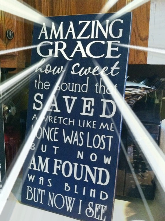 Amazing grace sign painted wood typography sign