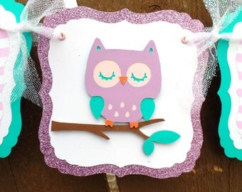 Owl Baby Shower Banner, Itu0027s A Girl Baby Shower Banner, Lavender Owl Baby  Shower