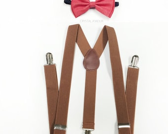 Brown suspenders, Deep Coral bowtie, Mens suspenders and bowtie, Coral bow tie and brown suspenders, Groomsmen Gift
