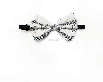 Music Notes Bowtie, Music Notes Bow tie, Music teacher gift, white bowtie, white bow tie, music notes bowtie, musical notes