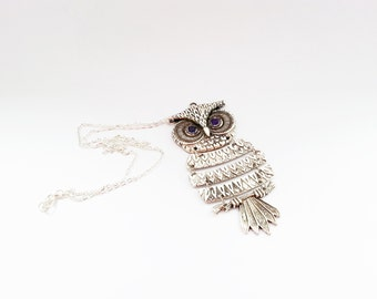 Silver long owl necklace with purple zircons silver gift for her necklace gift wrapping