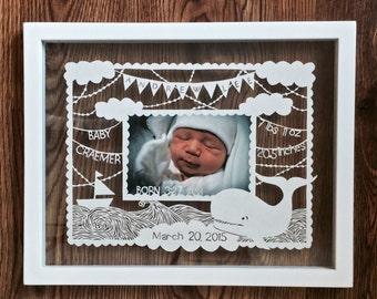 New Baby Papercut Art - Custom Personalized Newborn Gift Papercut - Handcut Paper Illustration